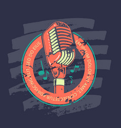 retro karaoke music club bar audio record studio vector image
