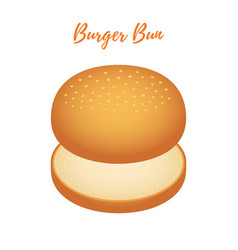3d burger bun hamburger bread bakery vector