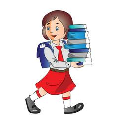 A schoolgirl carrying stack of books vector