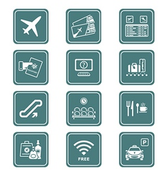 airport icons | teal series vector image