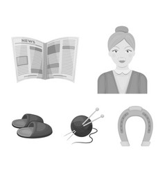 an elderly woman slippers a newspaper knitting vector image
