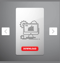 analytics chart seo web setting line icon in vector image
