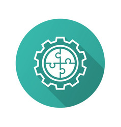 Automated system icon with long shadow for graphic vector