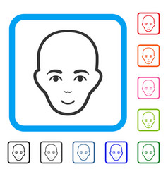 Bald head framed smiling icon vector