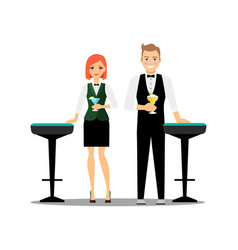 Bartenders couple with cocktails and bar chairs vector