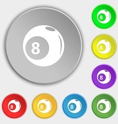 Billiards icon sign Symbol on eight flat buttons vector
