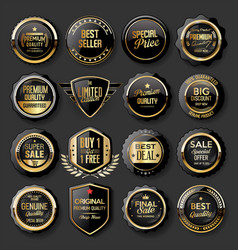 black and gold badges super sale collection 02 vector image