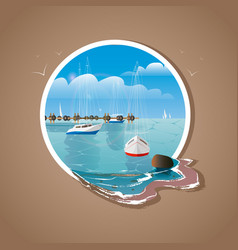 Blue sea sky background and yachts in white frame vector