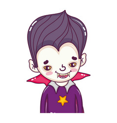 Boy vampire with teeth and gothic suit vector