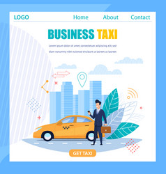 Business taxi flat banner yellow cab car service vector