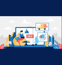 buy in online store stay at home and shopping vector image