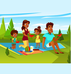 Cartoon african family at picnic party vector