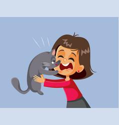 cat scratching little girl cartoon vector image