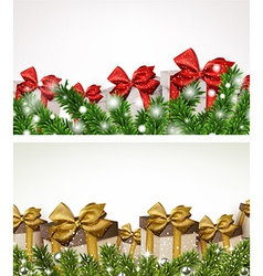 Christmas banners with fir branches gift boxes vector image
