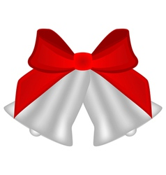 Christmas silver bells with red bow vector image