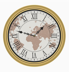 clock with map vector image