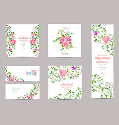 Collection of greeting cards with fancy flora for vector