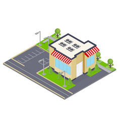 commercial building isometric concept vector image