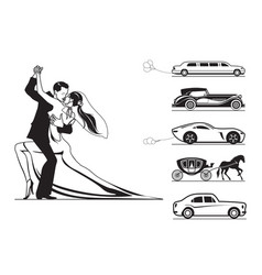 Couple of groom and bride with wedding cars vector