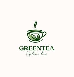 Cup tea with green leaf green tea logo template vector
