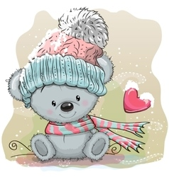 Cute Bear in a knitted cap vector