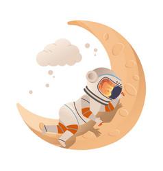 Cute boy astronaut in space suit sleeping vector