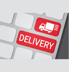 Delivery button on laptop keyboard fast courier vector