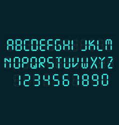 Digital font alarm clock letters and numbers vector