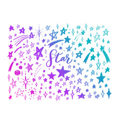 doodle set of stars hand drawn sketch vector image