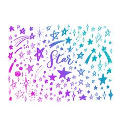 doodle set stars hand drawn sketch vector image