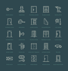 Doors installation repair line icons various vector