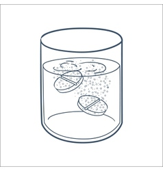Effervescent tablets in a glass vector