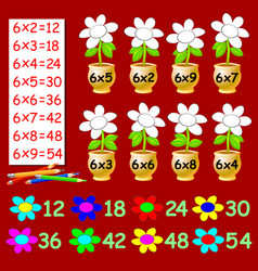 Exercise for children with multiplication six vector