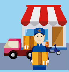 express delivery cartoon vector image