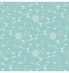 Fish and helm pattern vector image