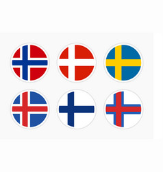 flags northern europe scandinavia set of vector image