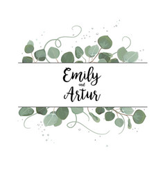 Floral card with eucalyptus green leaves frame vector
