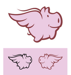 flying pig icon mascot vector image