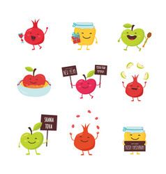 funny icons of cartoon characters for rosh vector image