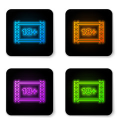glowing neon play video with inscription 18 plus vector image