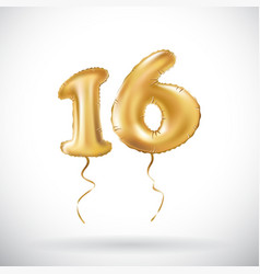 Golden number 16 sixteen metallic balloon party vector