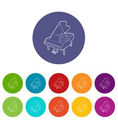 Grand piano icons set color vector