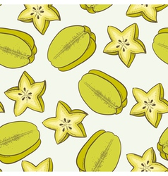 Green carambola seamless pattern vector