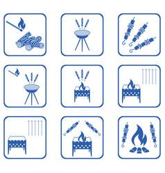 grilled kebab icons set vector image