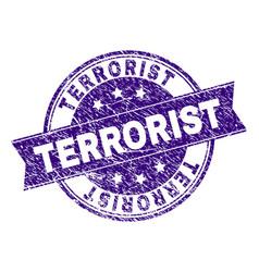Grunge textured terrorist stamp seal vector