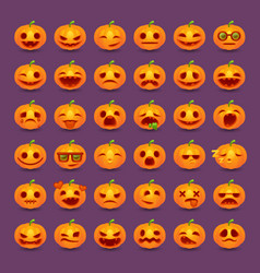 halloween pumpkin emotions icon set vector image