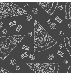 Hand drawn slices of pizza seamless pattern vector image