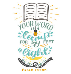 Hand lettering your word is a lamp for my feet vector