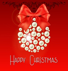Happy Christmas lettering with pearls and bow vector