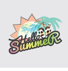 Hello Summer Badge Design vector